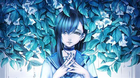 Download Wallpaper 1366x768 Girl Anime Sadness Leaves