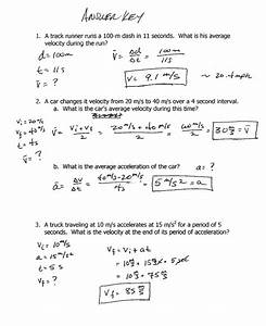 Velocity And Acceleration Worksheet
