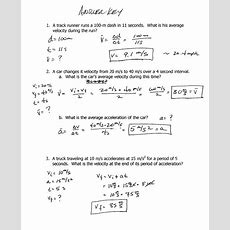 Velocity And Acceleration Worksheet Homeschooldressagecom
