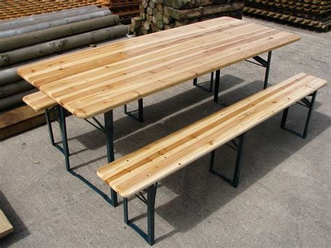 large outdoor wooden folding table bench set collect