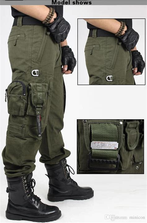 mens hiking pants multi pockets black  army green tactical army fatigue camouflage swat