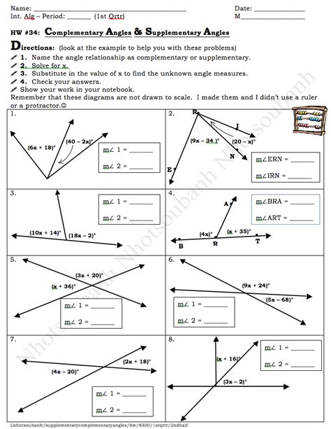 Supplementary Complementary Angles Worksheet Rcnschool