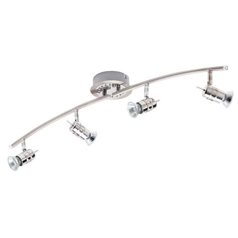 4 light curved ceiling spotlight bar brushed chrome from