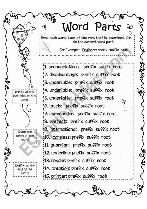word parts prefix root suffix worksheet esl
