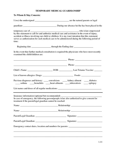 legal guardianship forms  printable temporary form