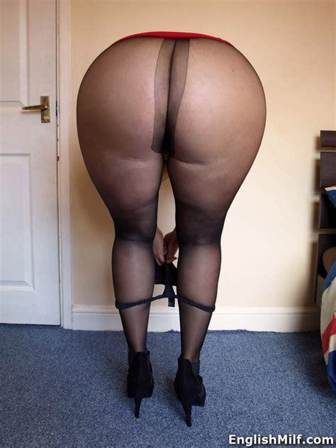 hot Mature Fatty Daniella English In Black Pantyhose Flaunting Her big ass