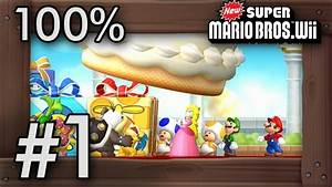 New Super Mario Bros Wii 100 Walkthrough World 1 All