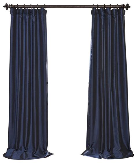 navy blue blackout faux silk taffeta curtain single panel