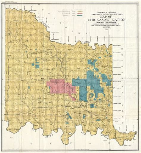 department of interior commission to the five civilized tribes map of chickasaw nation indian