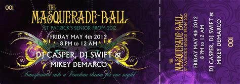 prom ticket template masquerade event ticket