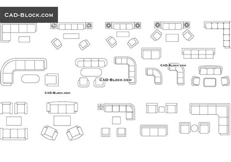 Divani 2d furniture cad blocks couches and sofas in plan