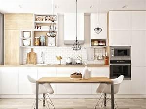 1001 conseils et idees pour amenager une cuisine moderne With deco cuisine avec chaise blanche en bois