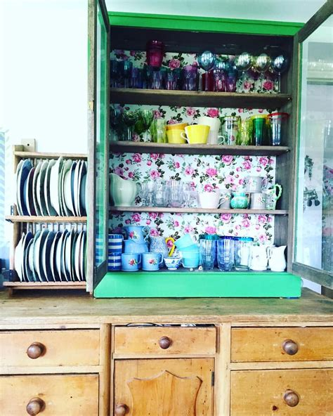 sarah moore atsarahmoorehome  instagram kitchen shelves tidy check vintage cabinets