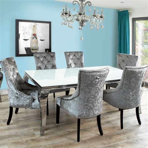 fadenza white glass dining table   silver chairs