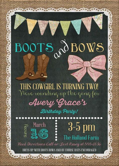 theme template room b 2nd floor cowgirl invitation boots bows western 1st birthday burlap