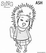 Coloring Sing Porcupine Printable sketch template