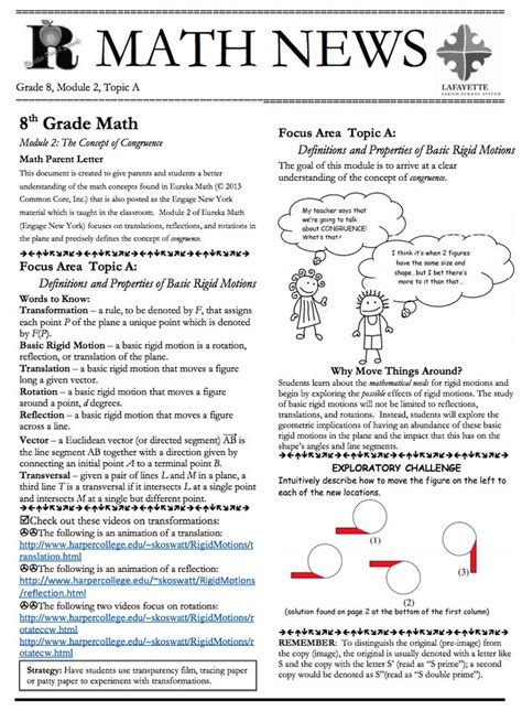 Grade 3 Module 1 Topic A Parent Newsletter Developed By 46 Best Images About Grade 8 Eureka Math On