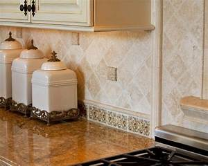 Travertine kitchen backsplash kitchen tumbled travertine for Kitchen cabinets lowes with decorative tiles for wall art