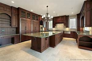 Dark cherry color kitchen cabinets and isles home design for Dark wood kitchen cabinet ideas