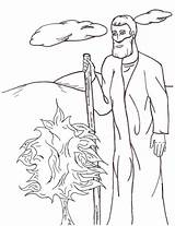 Moses Coloring Bush Burn Luna sketch template