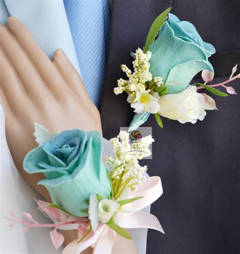 blue pink pu 2 color groom boutonniere bridal wrist corsage diy