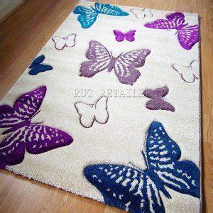 Select Butterfly Cream Purple & Teal Modern Wilton Rugs