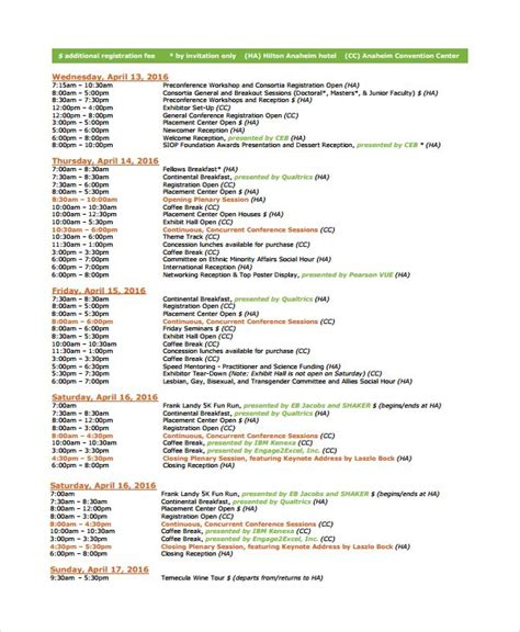 event schedule template  images schedule template