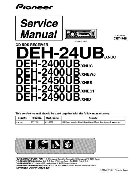 Pioneer Deh Service Manual Free Download