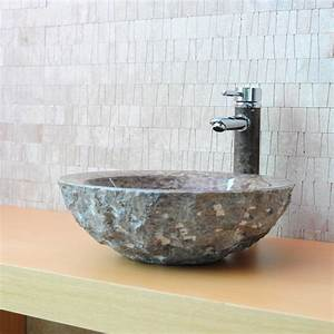 vasque en pierre ronde wasa marbre brun indoor by capri With salle de bain design avec vasque lavabo ronde
