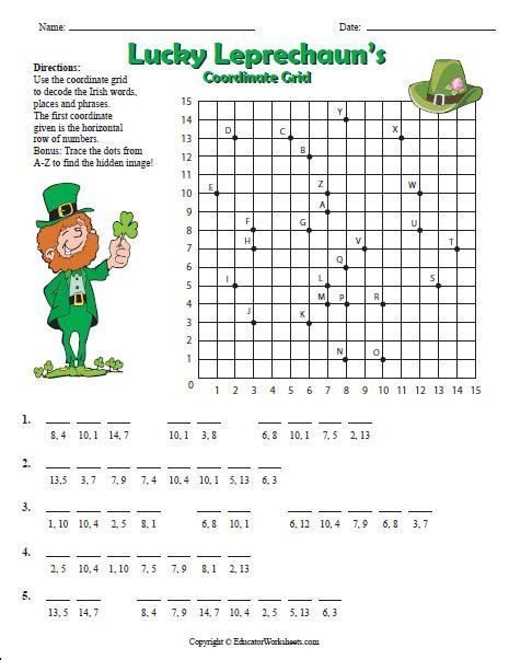 use the coordinate grid to decode the irish words places and phrases trace the dots from a z