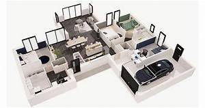 kalice 140 m2 4 chambres o maisons d39en france With wonderful plan de maison en 3d 6 maisons cate atlantique constructeur