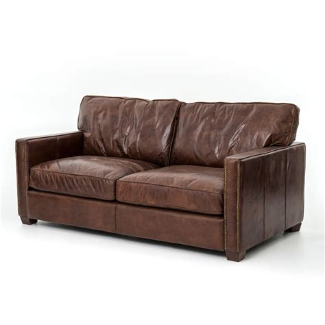 Distressed Leather Couches by 72 Quot L Sofa Seat Top Grain Distressed Leather Vintage
