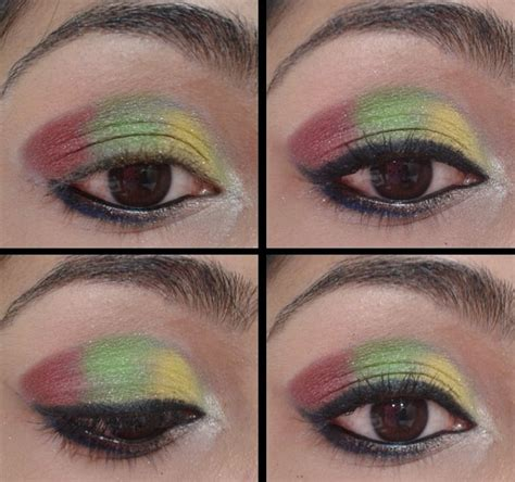 wearing today yellow green  pink eye makeup