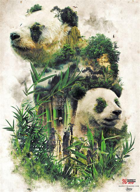 great panda nature surrealism study digital art  behance