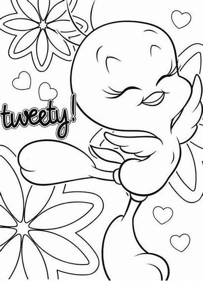 Tweety Bird Coloring Happy Pages Printable Disney