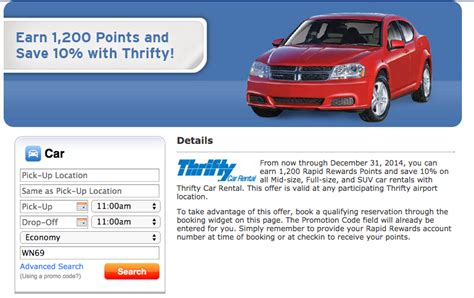 Earn 1,200 Southwest Points With Thrifty And Dollar Car