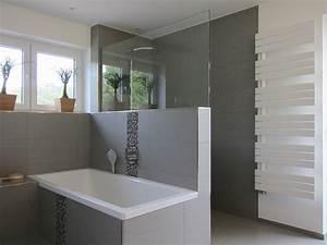 Glasscheibe Für Dusche : familienbad mit offener dusche modern badezimmer ~ Lizthompson.info Haus und Dekorationen
