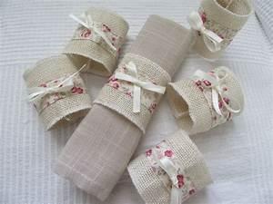 Serviette De Table En Tissu : 6 rond de serviettes en toile de jute et fleurie accessoires de maison par les creations deco ~ Teatrodelosmanantiales.com Idées de Décoration
