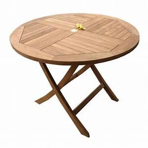 Table Teck Jardin : table de jardin plainte en teck brut table ronde en teck diametre 100 cm mobiler de jardin ~ Teatrodelosmanantiales.com Idées de Décoration