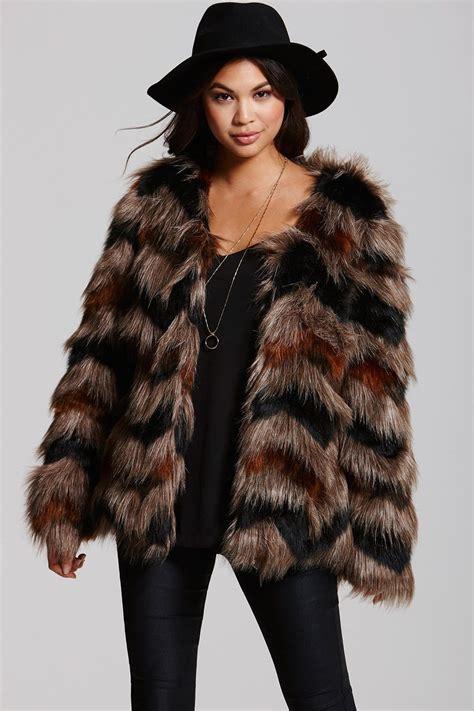 mistress mink  black chevron faux fur coat