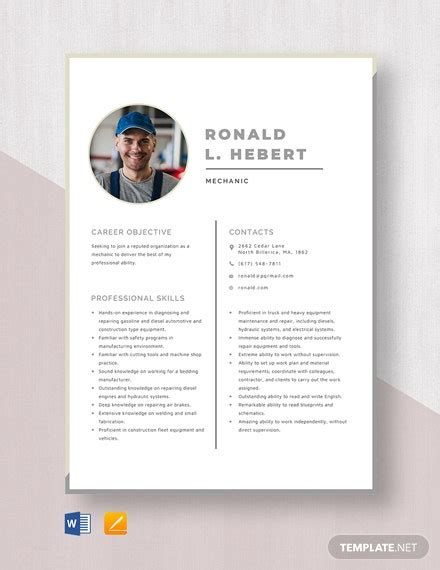 mechanic resume template word  psd