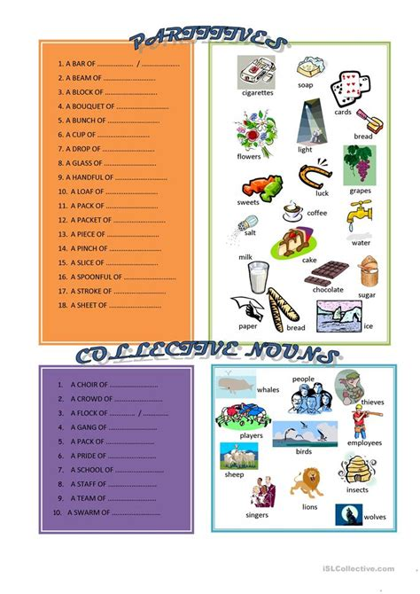 Partitives And Collective Nouns Worksheet  Free Esl Printable Worksheets Made By Teachers