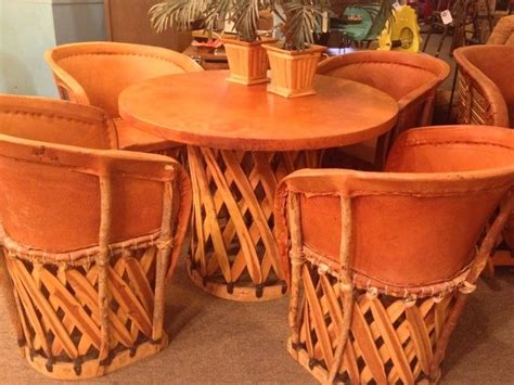 vintage mexican equipale leather  wood dining table  chairs   mexican