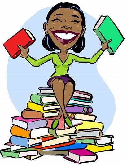 Reading Clipart Books Promotion Teacher Clip Woman