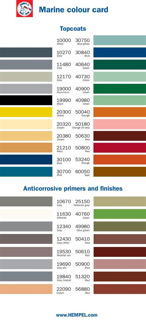 color charts all marine paint color card pompei s marine