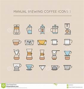 Manual Brewing Coffee Icons 1 Stock Vector