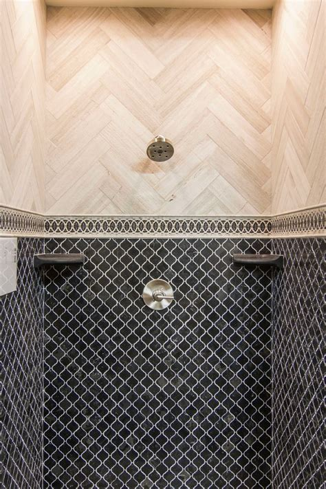 dark grey bathroom shower tile noir polished arabesque