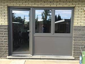 porte pvc gealan gris quartz ensemble de porte fenetres With porte d entrée pvc avec fenetre pvc gris