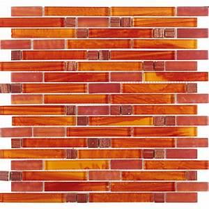 Tst, Crystal, Glass, Mosaic, Tile, Red, Orange, Strip, Interlocking, Backsplash, Wall, Deco