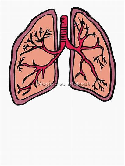 Lungs Cartoon Respiratory Funny System Redbubble Colors